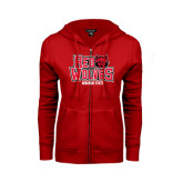 Ladies Red Fleece Full Zip Hoodie-Red Wolves Stacked Head on Right