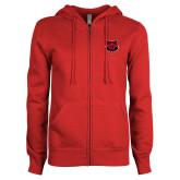 ENZA Ladies Red Fleece Full Zip Hoodie-Red Wolf Head