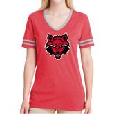 Ladies Red Heather/Grey Tri Blend Varsity Tee-Red Wolf Head