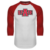 White/Red Raglan Baseball T-Shirt-A State
