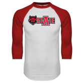 White/Red Raglan Baseball T-Shirt-Red Wolf Head w/A State