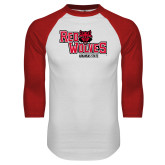 White/Red Raglan Baseball T-Shirt-Red Wolves Stacked Head Centered