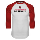 White/Red Raglan Baseball T-Shirt-Baseball Stacked Text