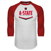White/Red Raglan Baseball T-Shirt-Baseball Abstract Plate