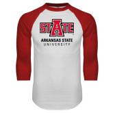 White/Red Raglan Baseball T Shirt-University Mark