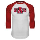 White/Red Raglan Baseball T Shirt-A State