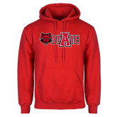 Red Fleece Hoodie-Red Wolf Head w/A State