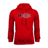 Red Fleece Hood-Red Wolf Head w/A State