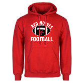 Red Fleece Hood-Football Distressed Ball