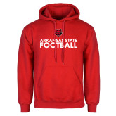 Red Fleece Hood-Football Stacked Text