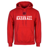 Red Fleece Hood-Baseball Stacked Text