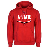 Red Fleece Hood-Baseball Abstract Plate