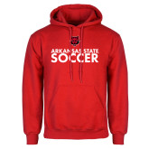 Red Fleece Hood-Soccer Stacked Text