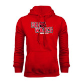 Red Fleece Hood-Red Wolves Stacked Head Centered