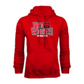 Red Fleece Hood-Red Wolves Stacked Head on Right