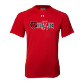 Under Armour Red Tech Tee-Red Wolf Head w/A State