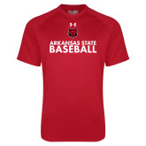 Under Armour Red Tech Tee-Baseball Stacked Text