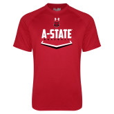 Under Armour Red Tech Tee-Baseball Abstract Plate