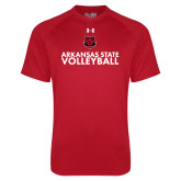 Under Armour Red Tech Tee-Volleyball Stacked Text