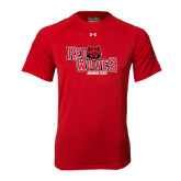 Under Armour Red Tech Tee-Red Wolves Stacked Head Centered