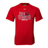 Under Armour Red Tech Tee-Red Wolves Stacked Head on Right