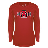 Ladies Syntrel Performance Red Longsleeve Shirt-A State