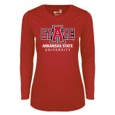 Ladies Syntrel Performance Red Longsleeve Shirt-University Mark