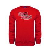 Red Fleece Crew-Red Wolves Stacked Head Centered