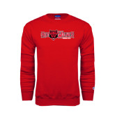 Red Fleece Crew-Red Wolves w/Red Wolf Head Centered