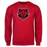 Red Fleece Crew-Red Wolf Head