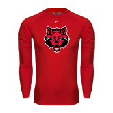 Under Armour Red Long Sleeve Tech Tee-Red Wolf Head