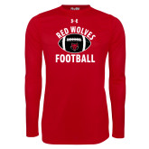 Under Armour Red Long Sleeve Tech Tee-Football Distressed Ball