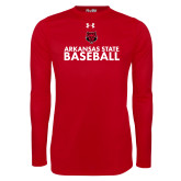 Under Armour Red Long Sleeve Tech Tee-Baseball Stacked Text