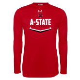 Under Armour Red Long Sleeve Tech Tee-Baseball Abstract Plate