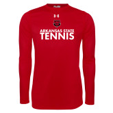 Under Armour Red Long Sleeve Tech Tee-Tennis Stacked Text