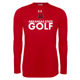 Under Armour Red Long Sleeve Tech Tee-Golf Stacked Text