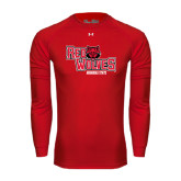 Under Armour Red Long Sleeve Tech Tee-Red Wolves Stacked Head Centered