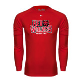 Under Armour Red Long Sleeve Tech Tee-Red Wolves Stacked Head on Right