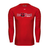 Under Armour Red Long Sleeve Tech Tee-Red Wolves w/Red Wolf Head Centered