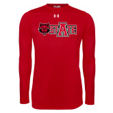Under Armour Red Long Sleeve Tech Tee-Red Wolf Head w/A State