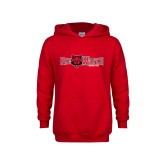 Youth Red Fleece Hoodie-Red Wolves w/Red Wolf Head Centered