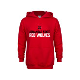 Youth Red Fleece Hoodie-Arkansas State Red Wolves Stacked Block