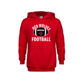 Youth Red Fleece Hoodie-Football Distressed Ball