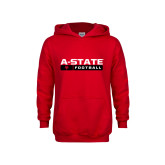 Youth Red Fleece Hoodie-Football Bar