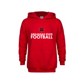 Youth Red Fleece Hoodie-Football Stacked Text