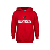 Youth Red Fleece Hoodie-Baseball Stacked Text