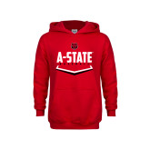 Youth Red Fleece Hoodie-Baseball Abstract Plate