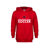 Youth Red Fleece Hoodie-Soccer Stacked Text