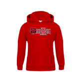 Youth Red Fleece Hood-Red Wolf Head w/A State