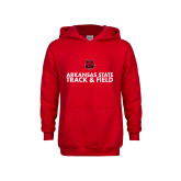 Youth Red Fleece Hoodie-Track and Field Stacked Text